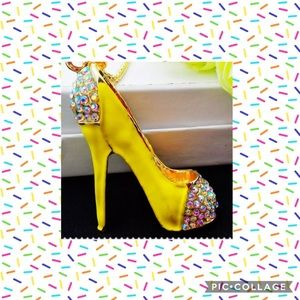 Yellow High Heels Necklace NEW